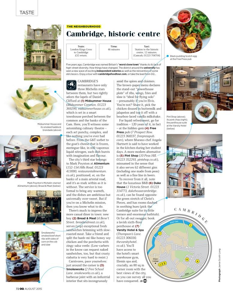 Taste Neighbourhood: Cambridge (GQ, August 2015)
