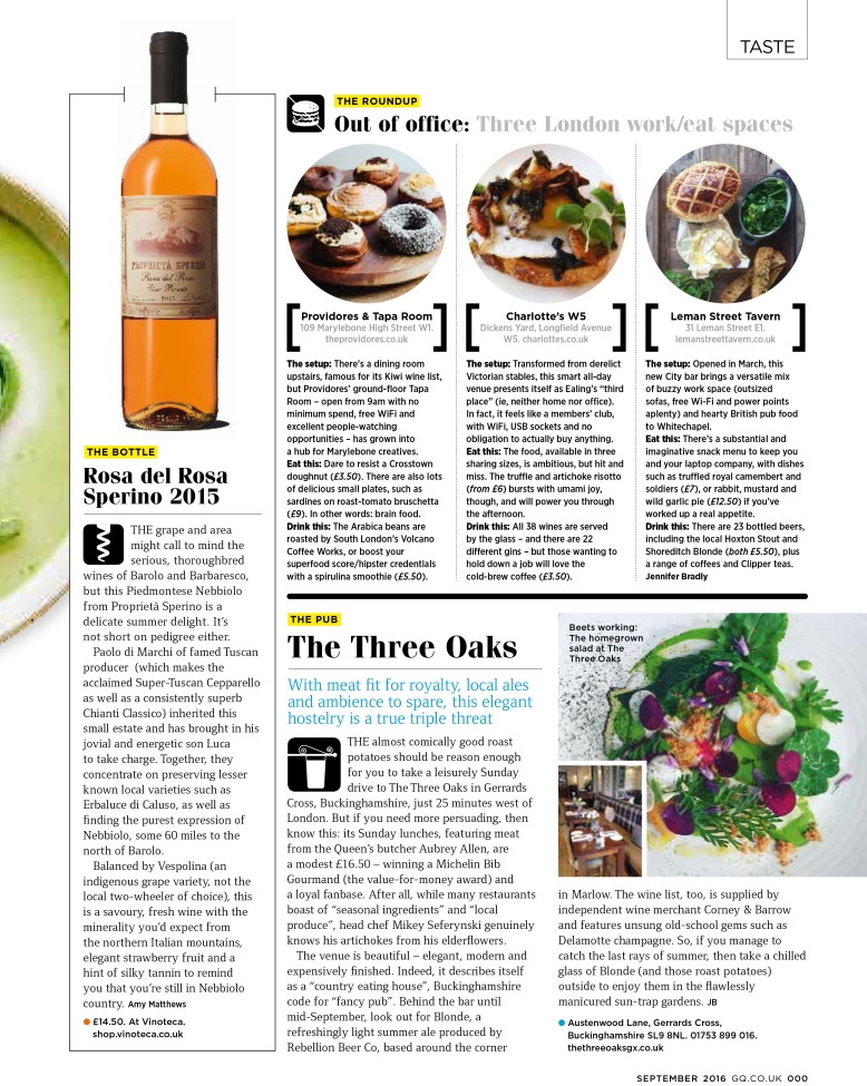Taste: Work/eat spaces; The Three Oaks review (GQ, September 2016)